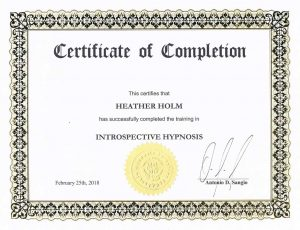 Introspective Hypnosis certificate